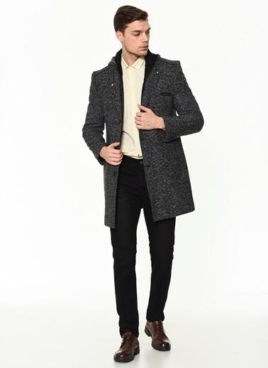 Dewberry Cepli Polyesterli Ve Yünlü Düğmeli Erkek Palto Antrasit